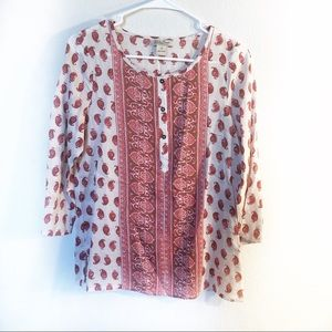 Lucky Brand Red White Patterned Button Shirt XS